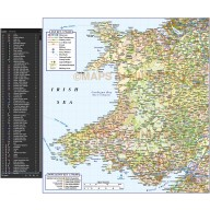 Wales 1st level Political Road & Rail Map @750,000 scale data