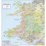 Digital vector map of Wales, County map with Hill shading