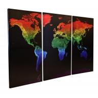 Rainbow World Map Stretched Canvas Triptych, Physical relief for Home Decor - Size 120cm w x 80cm dd