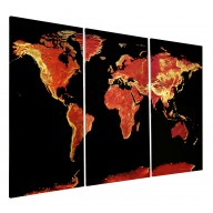 Fire Opal World Map Stretched Canvas Triptych, Physical relief for Home Decor - Size 120cm w x 80cm dd