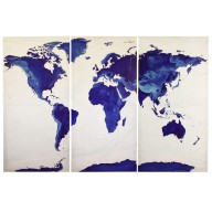 Sapphire Blue World Map Stretched Canvas Triptych, Physical relief for Home Decor - Size 120cm w x 80cm dd