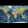 Push Pin World Travel Map NAVY BLUE Decor Canvas - Physical & Political Standard Size Large 90cmx60cm World