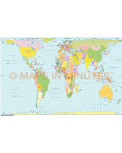 Digital vector world map Gall Orthographic Projection.