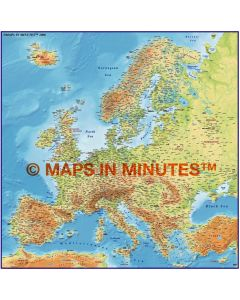 Europe 4M scale Medium colour Relief Map with Roads