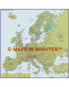 Europe 4M scale Duocolour Relief Map with Roads