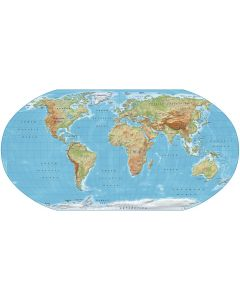 Digital vector World relief Map, Robinson Projection in regular colours, UK-centric, Political fills included