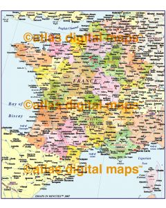 France Regions/Départments map at 4,000,000 scale (Conical projection)