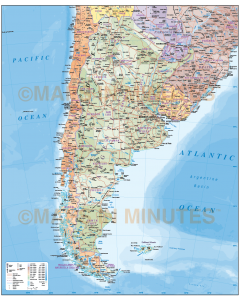 Digital vector Argentina map, Deluxe Political Road & Rail Map showing first level fills, roads & sea floor contours.