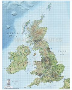 British Isles 1st level Political Road & Rail map @1,000,000 scale relief main