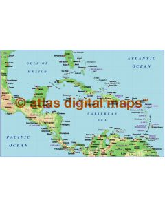 Caribbean small scale light colour Relief map