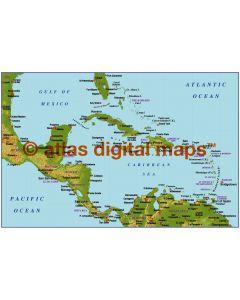 Caribbean small scale medium colour Relief map
