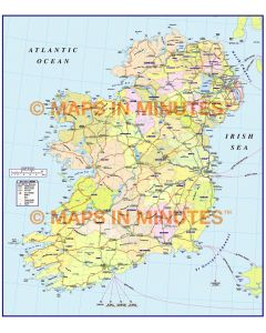 MIM Ireland Counties with Roads Map