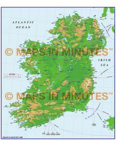 ADM Ireland Counties/Vector Contour map @ 1/1,000,000 scale
