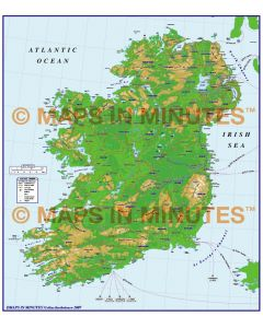 MIM Ireland Counties Map with Roads & vector contours @ 1/1,000,000 scale
