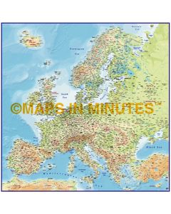 Europe 4M scale Regular Contour Colour Relief Map