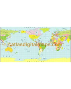 Plate Carrée Projection @100m scale US centric world map