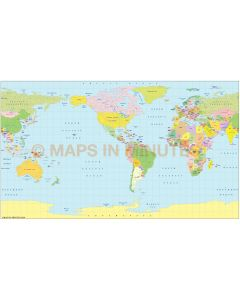 Vector World Map, Equirectangular Projection small scale Americas-centric Political.