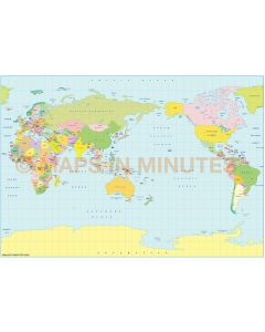 Vector World map. B.S.A.M. projection. Small scale Political Japan centric