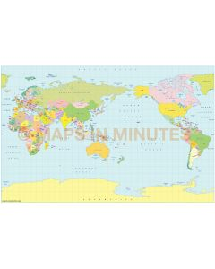 Vector World map. Braun projection. Small scale Political Japan centric