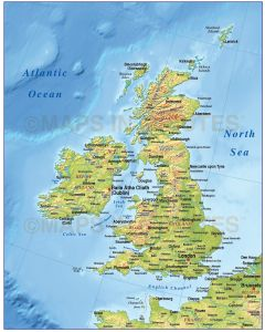 Vector British Isles UK map, Basic Country with medium relief @4,000,000 scale. Royalty free, Illustrator and pdf formats.