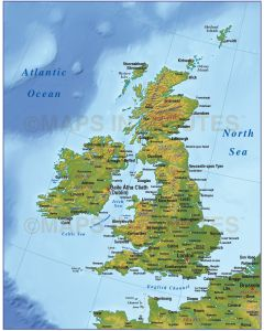 Vector British Isles UK map, Basic Country with strong relief @4,000,000 scale. Royalty free, Illustrator and pdf formats.