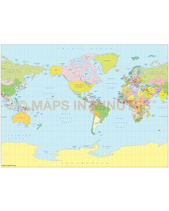 Vector World map. Miller Projection @100m scale US centric