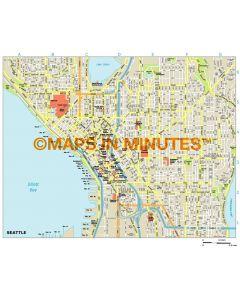 Seattle city map in Illustrator CS or PDF format
