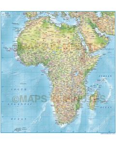 Vector Africa Political Map with Regular colour relief background