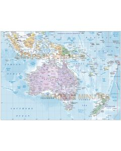Vector map of Australasia. Australia Continent country map with high resolution ocean floor contours @10m scale