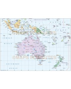 Digital vector Australasia Region Country Simple map @10,000,000 scale