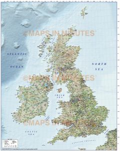 5M scale British Isles County Road map with Old Style colour Relief
