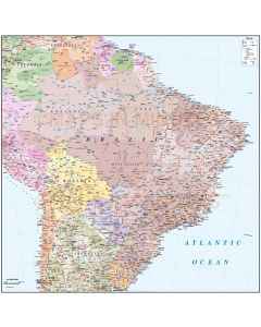 Vector Brazil map, Deluxe Political Road & Rail showing all the map detail with first level divisions for all countries