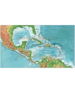 Digital vector Caribbean relief map @10m scale showing land and ocean floor relief