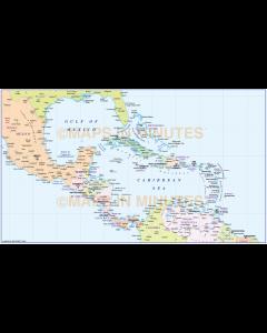 Central America Large Political Map in editable Illustrator CS format