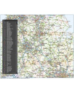 Vector Central England County Road & Rail Map @1m scale, fully layered in Illustrator formats.