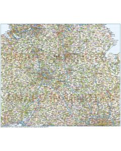 Vector Central England map with Counties, Road and Rail in fully editable Illustrator CS and PDF formats