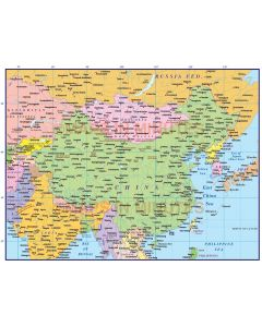 China Political Country Map @10m scale