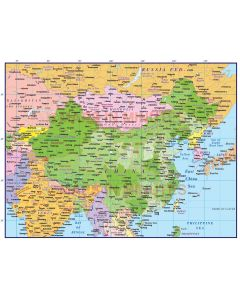 China Political Country Map @10m scale showing first level fills turned on