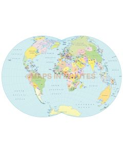 Vector World map. Dietrich-Kitada Projection @100m scale UK centric Denoyer projection digital map in Illustrator and pdf format.
