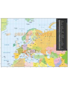 Digital vector map of Eurasia Simple Political Country Style @10m scale