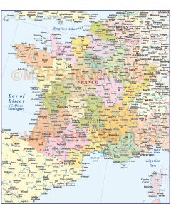 France Regions map at 4,000,000 scale in Illustrator CS and PDF formats