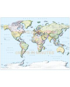 Digital vector Gall World map with drop shadow, hill shading, sea lines & insets. Press your right arrow key to see just how easy it can be..