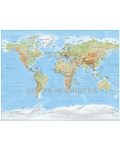 Digital vector World relief Map, Gall Projection in light colours (style 1), UK-centric, Political fills included