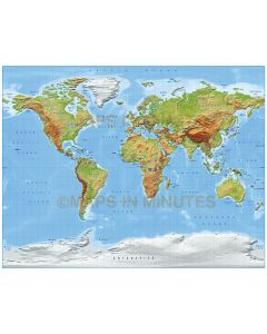 Digital vector World relief Map, Gall Projection in medium colours, UK-centric, Political fills included