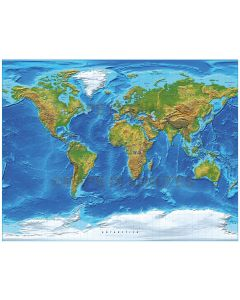 Digital vector World relief Map, Gall Projection in strong colours, UK-centric,  royalty free in Illustrator format.