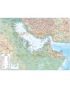 Gulf Political Deluxe map with Roads, Rail and land & sea contours, showing land and sea contour vectors