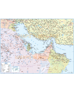 Gulf Political Deluxe Country map including Roads and Rail.