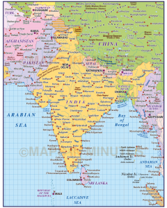 Digital vector India Country Map @10m scale in Illustrator CS and PDF formats.