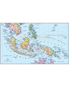 Indonesia/Malaysia Political with drop shadowMap @10M scale