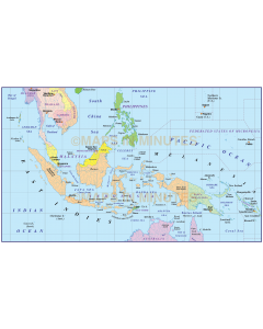 Indonesia/Malaysia Political Simple Vector Map @10M scale